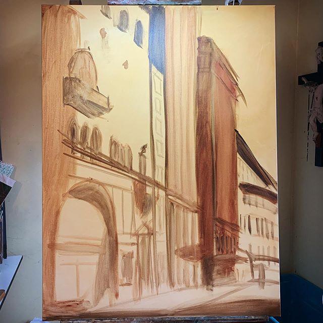Trying something new slash old.  #wip #paint #art #painting #oils #boston #big #sizequeen #representationalart #instartist