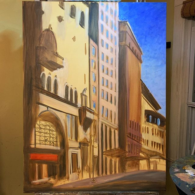 For the first time ever, I feel completely free to explore and experiment on the canvas. I'm not paying a lot of attention to the specific colors or details, but instead am trying to bring everything together into a harmonious image.  #wip #oilpainting #exploration #experimentalart #urbanlandscape #contemporaryart
