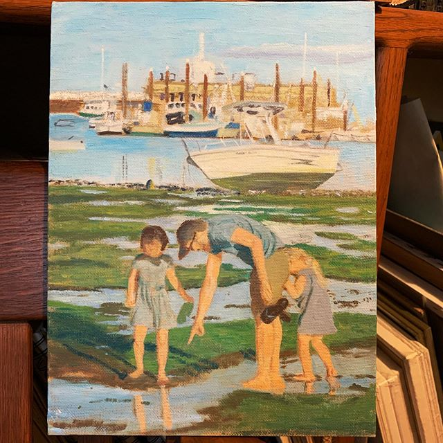 This is a piece I never finished, and lost confidence in, but lately I'm noticing that it's not half bad.  Provincetown Harbor, 9x12 oil on canvas panel.  #wip #painting #oilpainting #art #ptown