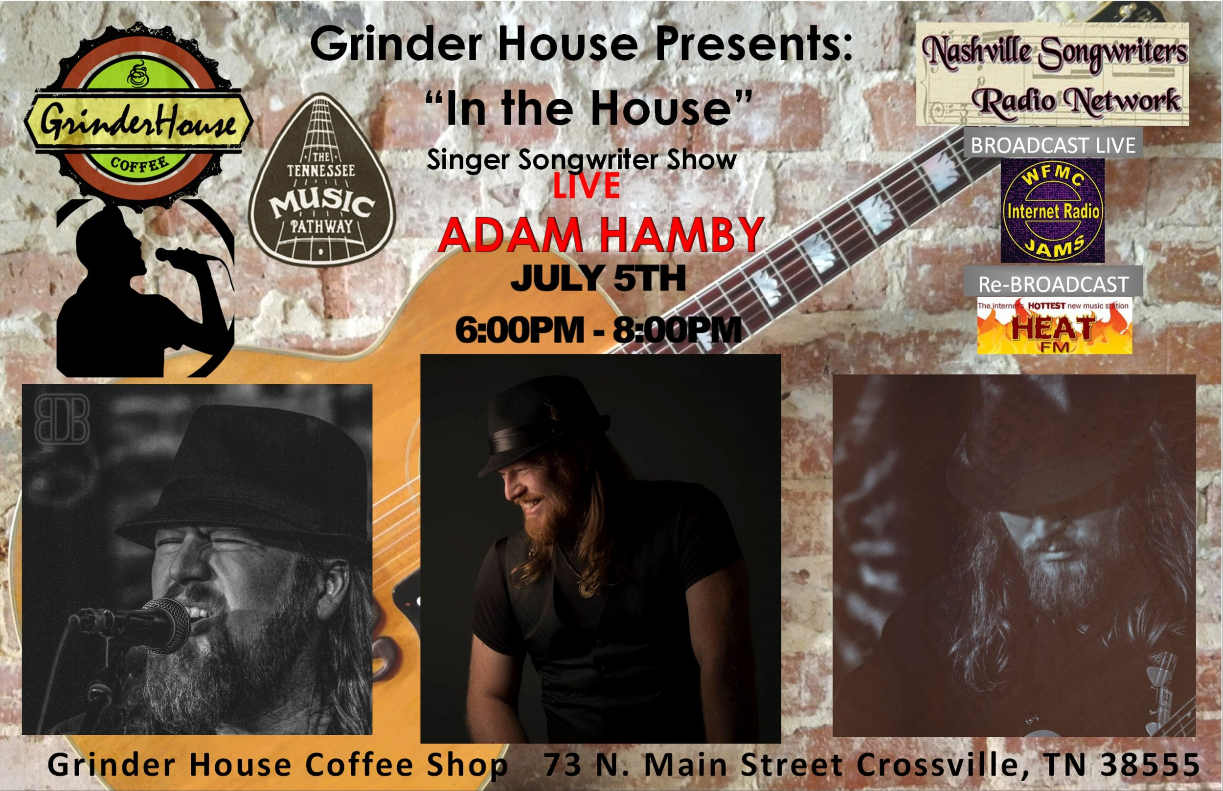 "Grinder House is honored to host: Adam Hamby WINNER of the 2018 Smoky Mountain Songwriter Fesatival. The Dark Waters Project is a Nashville based band that plays what they like to call, Darkgrass. Their music is a blend of multiple genre's but is greatly influenced by Bluegrass and Alternative Rock. The band has a long list of previously played venues and positive reviews from people in the music industry all over Nashville. Dark Waters is led by vocal duo, Cherish Hamby and Adam Hamby. Cherish and Adam do a vast majority of the bands songwriting, with occasional covers that they love to make their own.  Adam and Cherish have had a number of different band members over the last 9 years, from small 3 piece acts to large 7 piece groups. From 2012-14, they had a 5 piece Alternative Rock band often described as The Civil Wars fronting Evanescence. They had their first collaborative album titled, ""The Rains"", produced in the Fall of 2014 by Mike Hartnett (Colt Ford, Yelawolf, Rehab, Bubba Sparxxx, will.i.am, Pink). Their new album, titled ""The Darkgrass Sessions"" is set to be fully released early in 2018 and will be their second album together. The Darkgrass Sessions was produced by Lee Groitzsch, with a number of the songs co-produced by Noel Golden.  Adam is one of the founding members of the band and is one of two lead vocals. He has been the lead singer of 3 different bands over the last decade, releasing an EP with 2 of them (The Fifth Seal 2005; Stonesfall 2007) and then a solo album titled ""Trails,"" in 2003. Influenced heavily by his Christian faith, he writes and sings from his soul and it can be heard in both his voice and lyrics. He had a song reach Christian radio in the mid 2000's called, ""Mercedes"" with his former band, The Fifth Seal.  Cherish is one of the founding members of Dark Waters and is also one of the lead vocalists. She is often seen as the face of Dark Waters. Her voice is as stirring, beautiful and unique as Stevie Nicks or Jewel, but it's all her own. She has worked with some of the best that Nashville has to offer. Mark Miller and Garth Brooks paid for and offered some of Garth's band members to record her first album in 2001 – the entire EP was produced, engineered and paid for by Mark Miller of Forerunner, Jacks Tracks and Allentown Studios (production and engineering credits include Garth Brooks, Trisha Yearwood, Kathy Mattea, Chris LeDoux, George Jones). A few of the songs got quite a bit of radio play all over the Southeast US in the early 2000's. She has also been produced by George Cocchini (Third Day, DC Talk, Rich Mullins, Sawyer Brown, Steven Curtis Chapman). She released her second self-titled EP ""Cherish"" in 2001, but is now the heart of the Dark Waters Project."