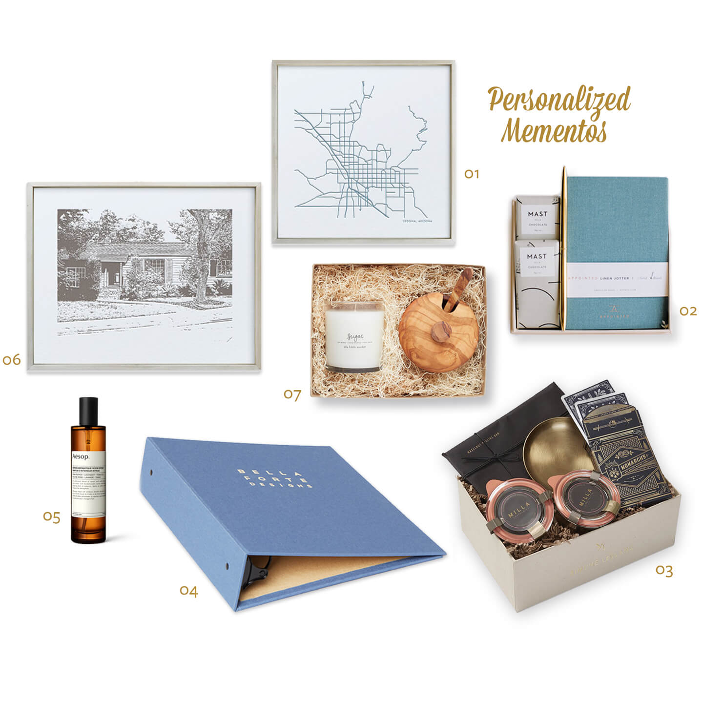 01   Minted  custom map , $41+     02   BOXFOX  Grazie box , $34   03   Simone LeBlanc  Celebration Suite  box, $75   04   Bella Forte Design  binder , $80+     05   Aesop  room spray , $55  06   Minted  house portrait , $41+     07   The Little Market  Sugar Sugar box , $68