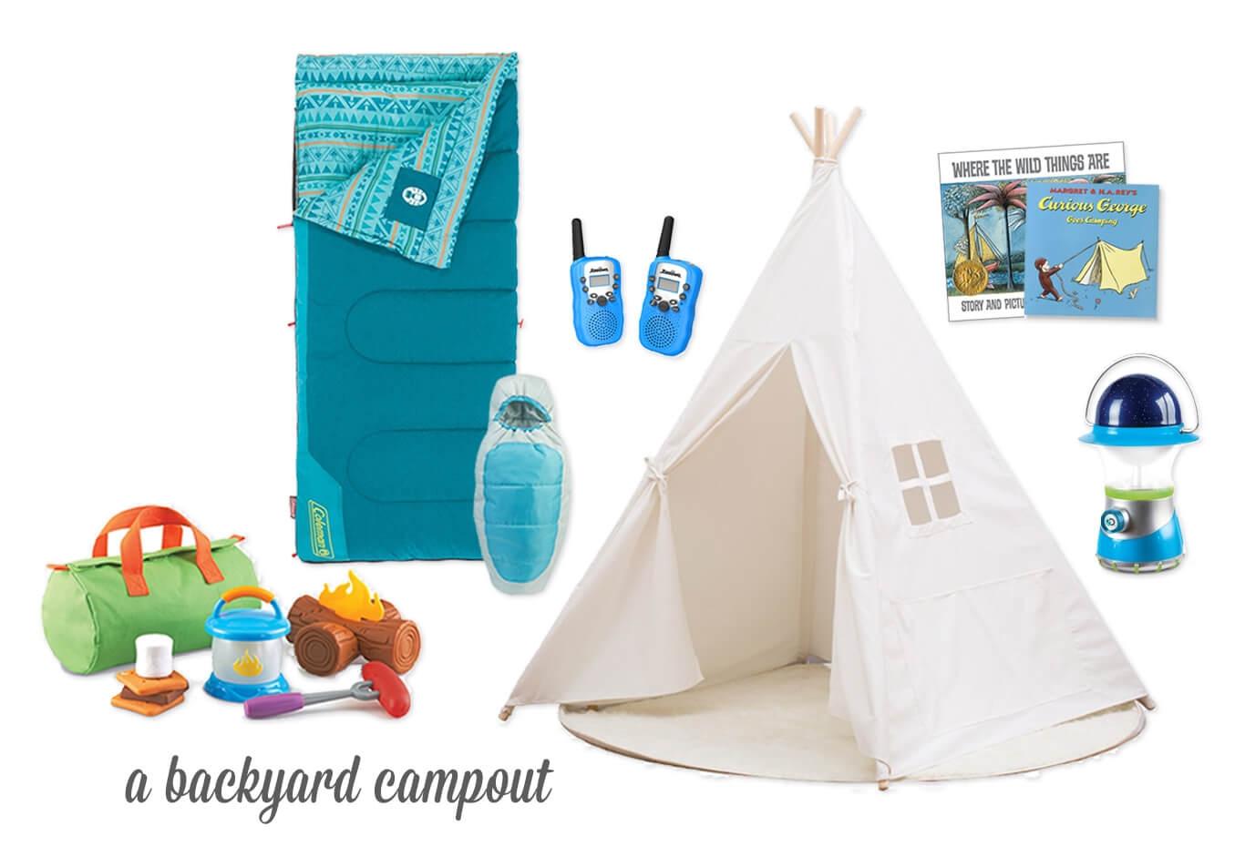 Camp Cook Kit / Kids + Doll Sleeping Bags / Walkie Talkies / Teepee / Camping Book Classics / Starry Night Lantern