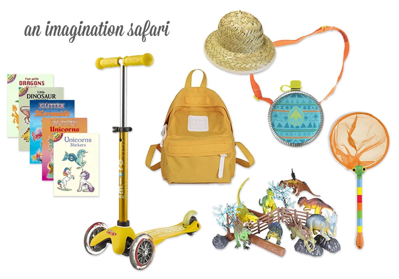 Imaginary Animal Activity Books / Scooter / Safari Hat, Backpack, + Canteen / Unicorn Net / Dinosaurs