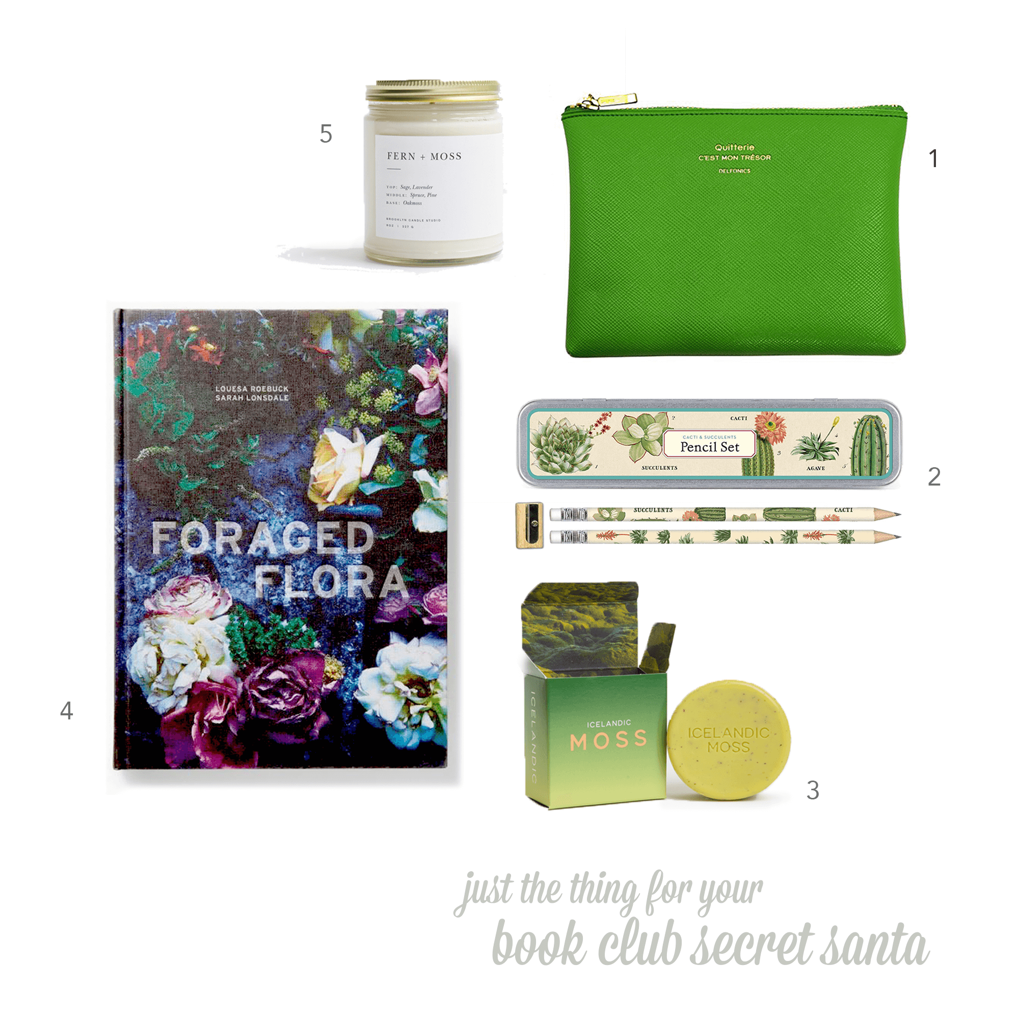 01  Delfonics    Quitterie Multifunctional Pouch ,$15*   02  Cavallini Papers & Co., Inc.  Succulents Pencil Set ,$11*   03  Kala Modern Wash    Icelandic Moss Soap , $9   04    Foraged Flora   by Louesa Roebuck, $27.96*  05  Brooklyn Candle Studio    Fern + Moss Minimalist Candle ,$24