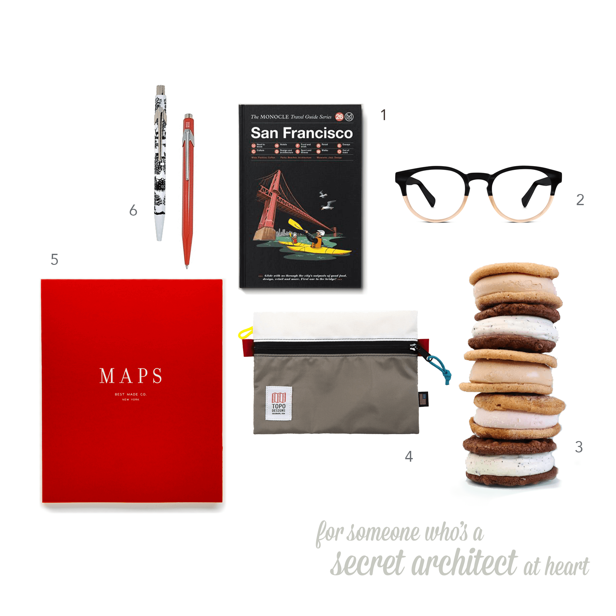 01  The Monocle  Travel Guide $15  02  Warby Parker  Percy eyeglasses  $95  03  Coolhaus  ice cream sammies 6-pack  $59.99  04 Topo Designs  Accessory Bag  $17  05 Best Made Co.  The Map Notebook  $28  06  Caran D'ache  Ballpoint Pen  $32.99*