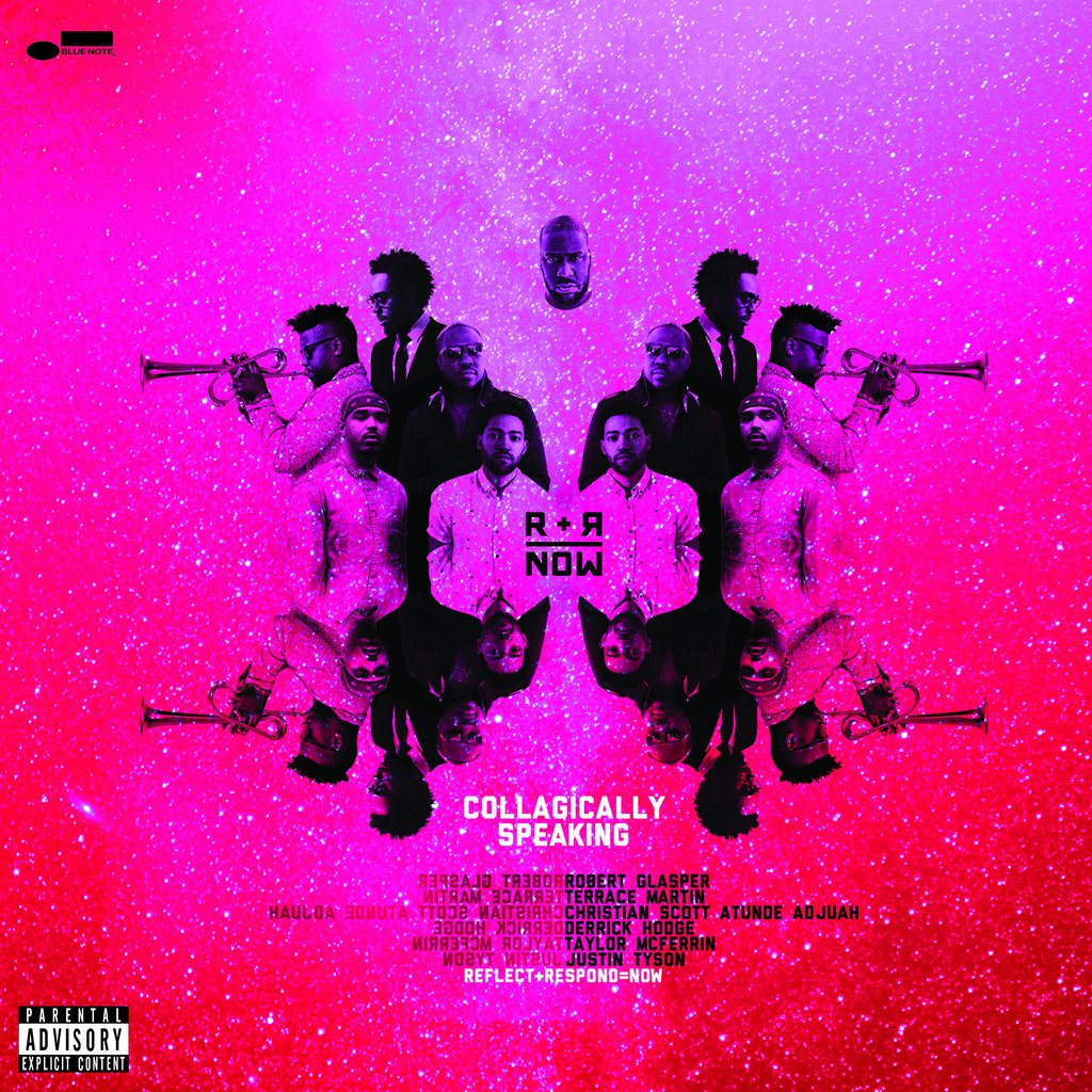 """R+R=NOW - Collagically Speaking (Blue Note Records, 2018) - """"Collagically Speaking is the debut album of dream team band R+R=NOW, featuring Robert Glasper, Terrace Martin, Christian Scott aTunde Adjuah, Derrick Hodge, Taylor McFerrin, and Justin Tyson. The band is inspired by Nina Simone's famous statement that an artist's duty is to reflect the times, and in that spirit they present single-take songs written live in the studio, going wherever their mood goes. The album explores quiet power, the women's movement, systemic bigotry, and universal love."""" - Alexa Potashnik, Volunteer Coordinator"""