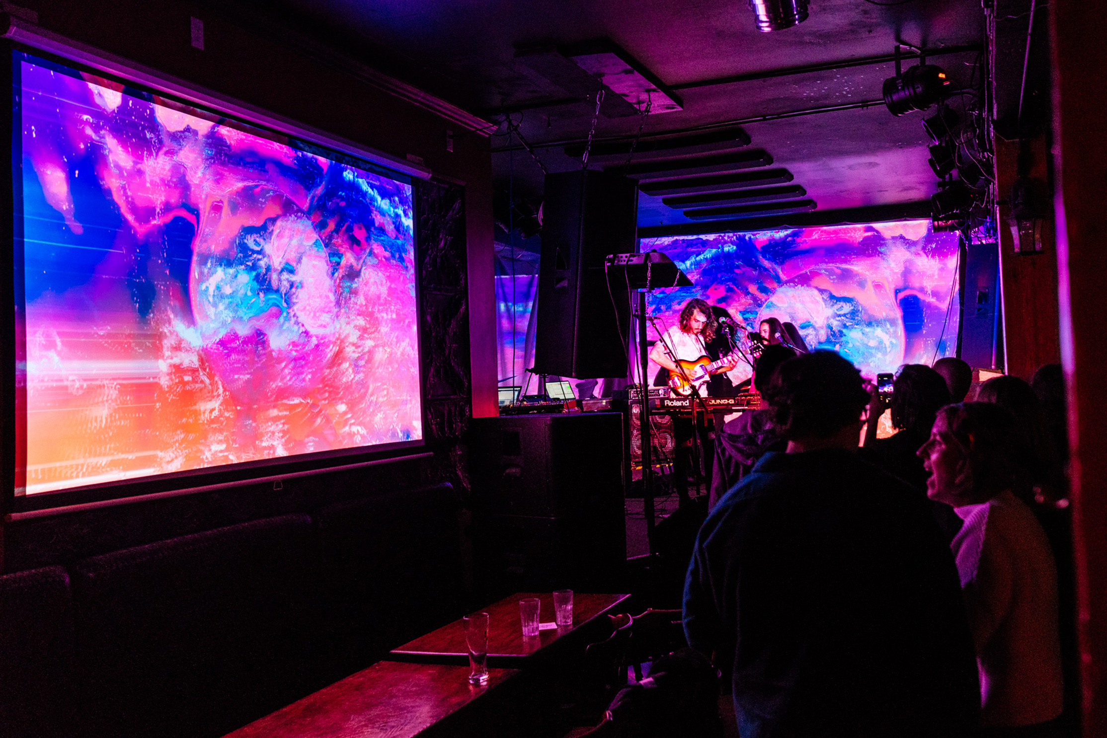 """1. Filled with Colour and Light - Saskatoon-based artist Stephanie Kuse is creating original projection art for this show. """"The space is going to look like it never has before,"""" Rayannah explains. """"We're building a show specific to the set list, and to the Good Will.""""(Pictured: The Capitol Music Club, June 1 2018. Photo by Brandon White)"""