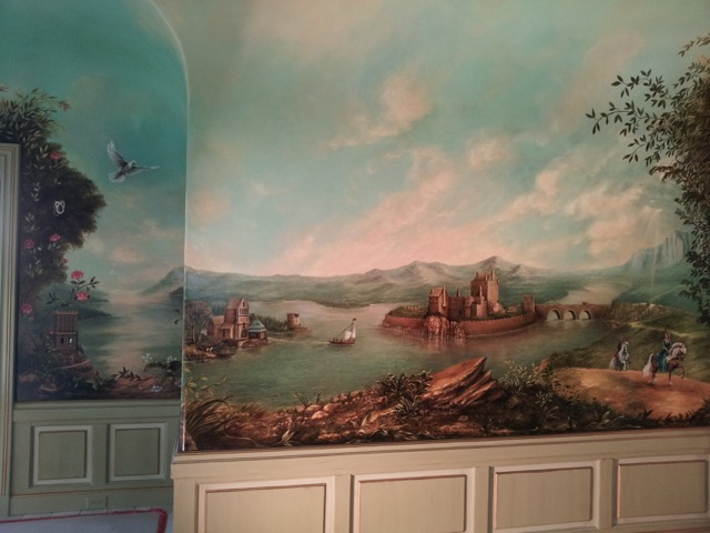 ocean and landscape in wall mural