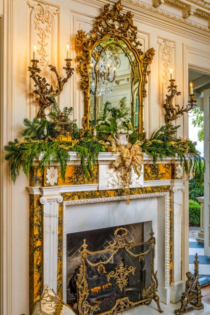 Pine Garland & Golden Ribbon Mantel Holiday Design by Jennifer Chapman