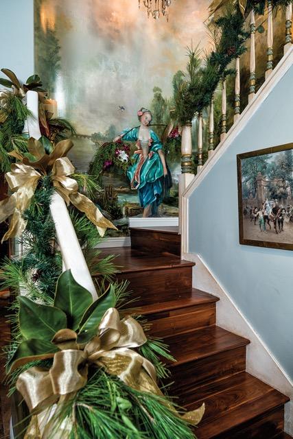Pine Garland & Ribbon Stairway Holiday Design by Jennifer Chapman