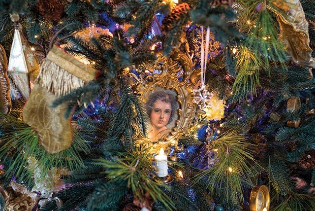 Close Up of Portrait Ornament Holiday Design by Jennifer Chapman