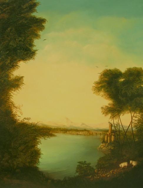 Lakeside Landscape Painting by Jennifer Chapman