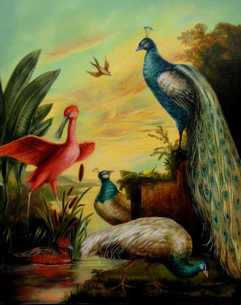 Bird Bath 2 Painting by Jennifer Chapman