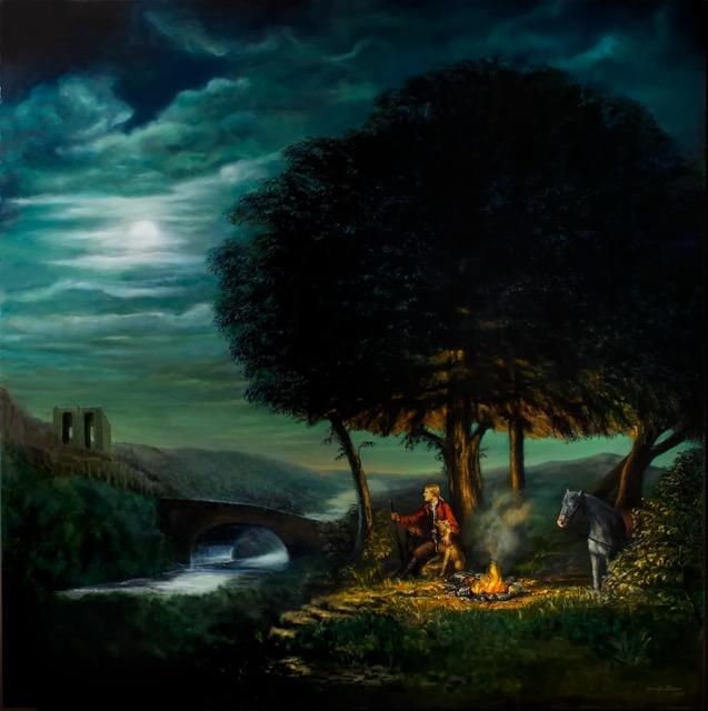 Moonlight Campfire Painting by Jennifer Chapman