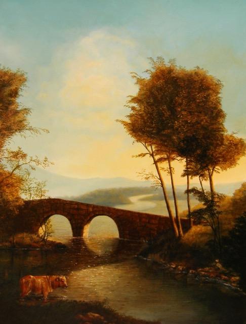 Cobblestone Bridge Painting by Jennifer Chapman