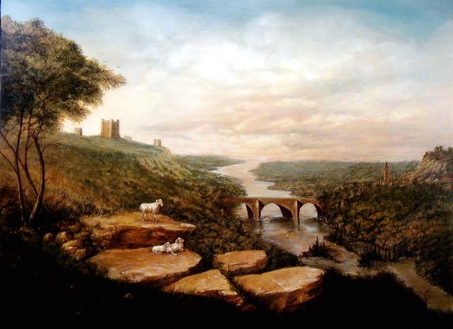 Hillside Castle Painting by Jennifer Chapman