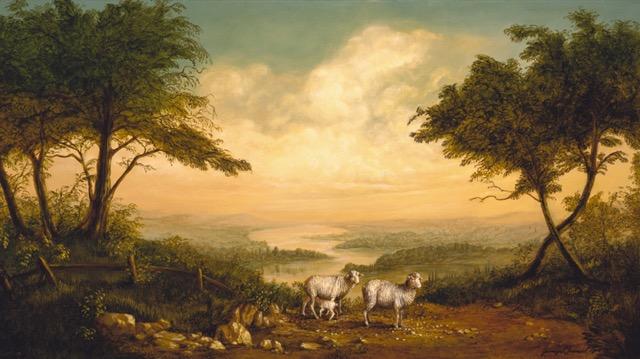 Sheep Landscape Painting by Jennifer Chapman