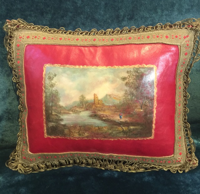 Red Framed Landscape Pillow from the Masterpiece Collection by Jennifer Chapman