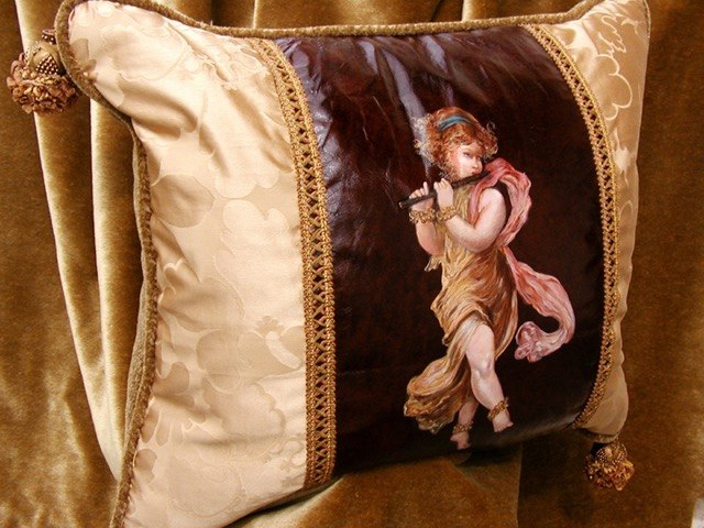 Child with Flute Pillow from the Masterpiece Collection by Jennifer Chapman