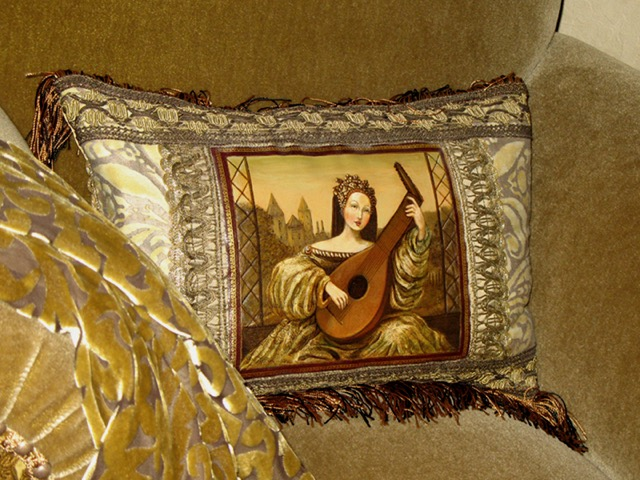 Lady with Lute Pillow from the Masterpiece Collection by Jennifer Chapman