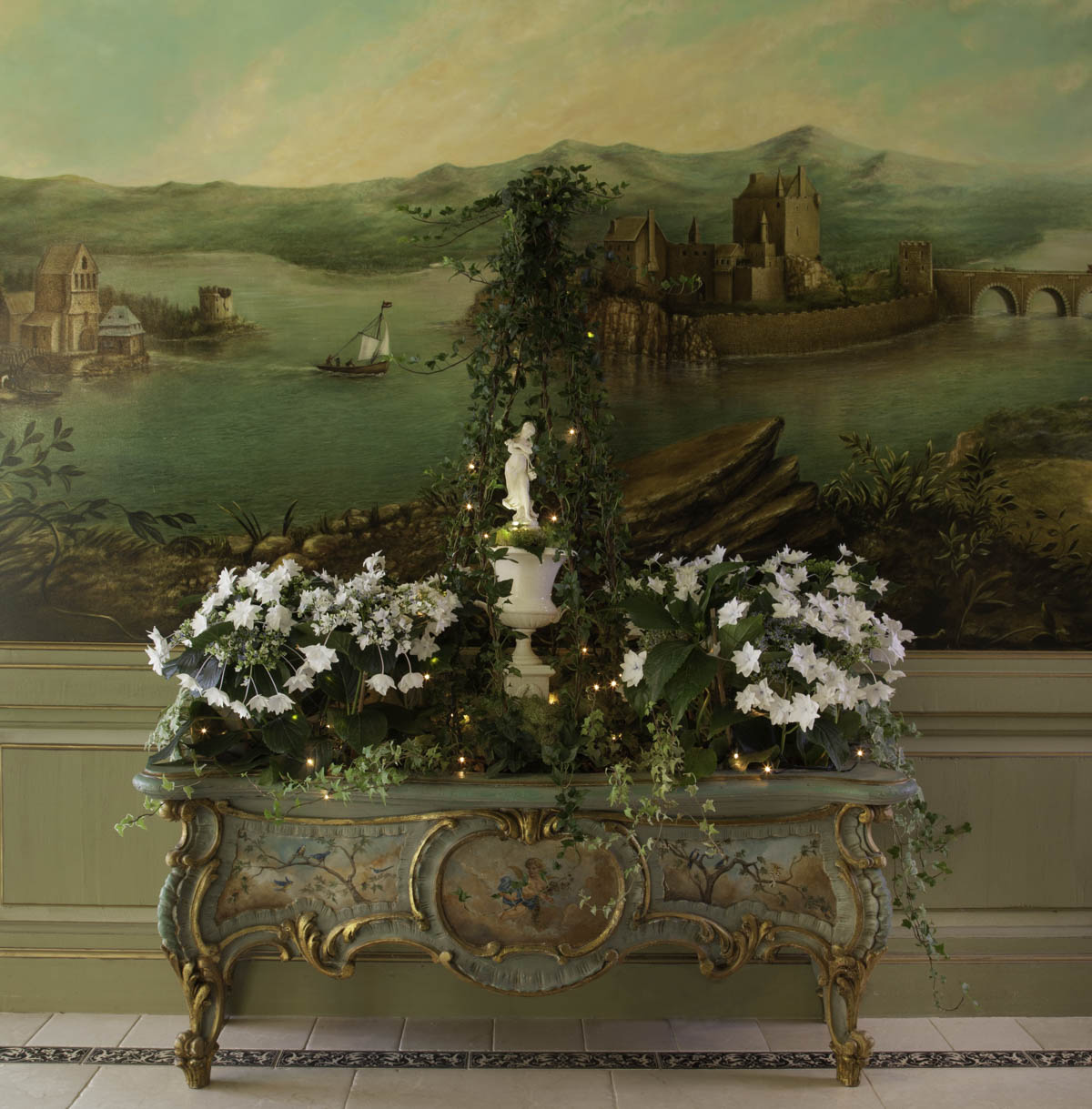 Statue and Floral Holiday Design by Jennifer Chapman