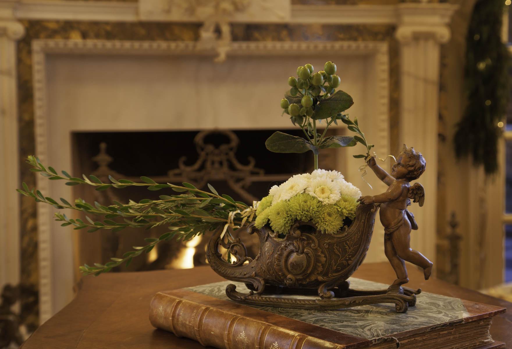 Cherub & Sleigh Floral Vase Holiday Design by Jennifer Chapman
