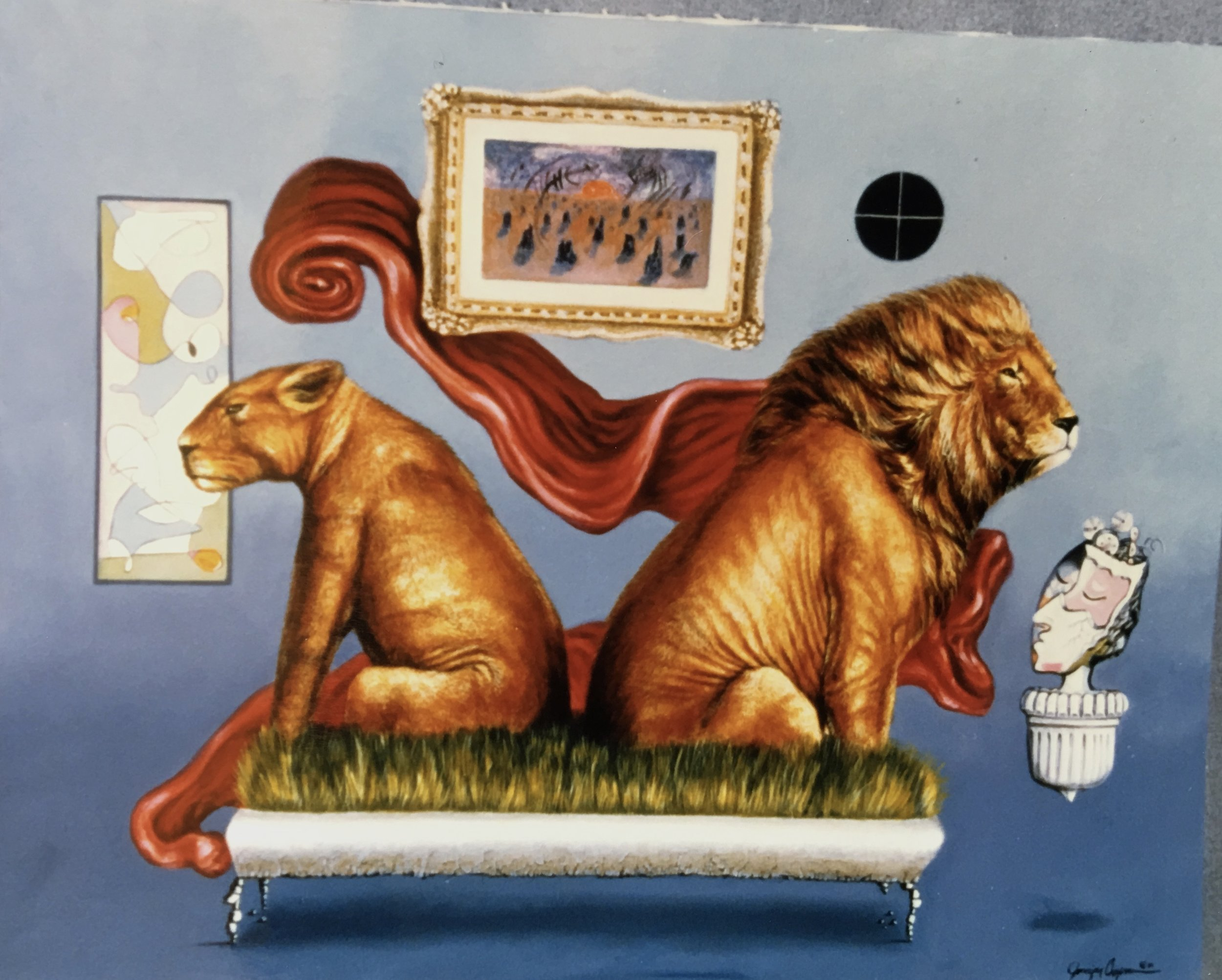 Lion and Lioness Painting by Jennifer Chapman