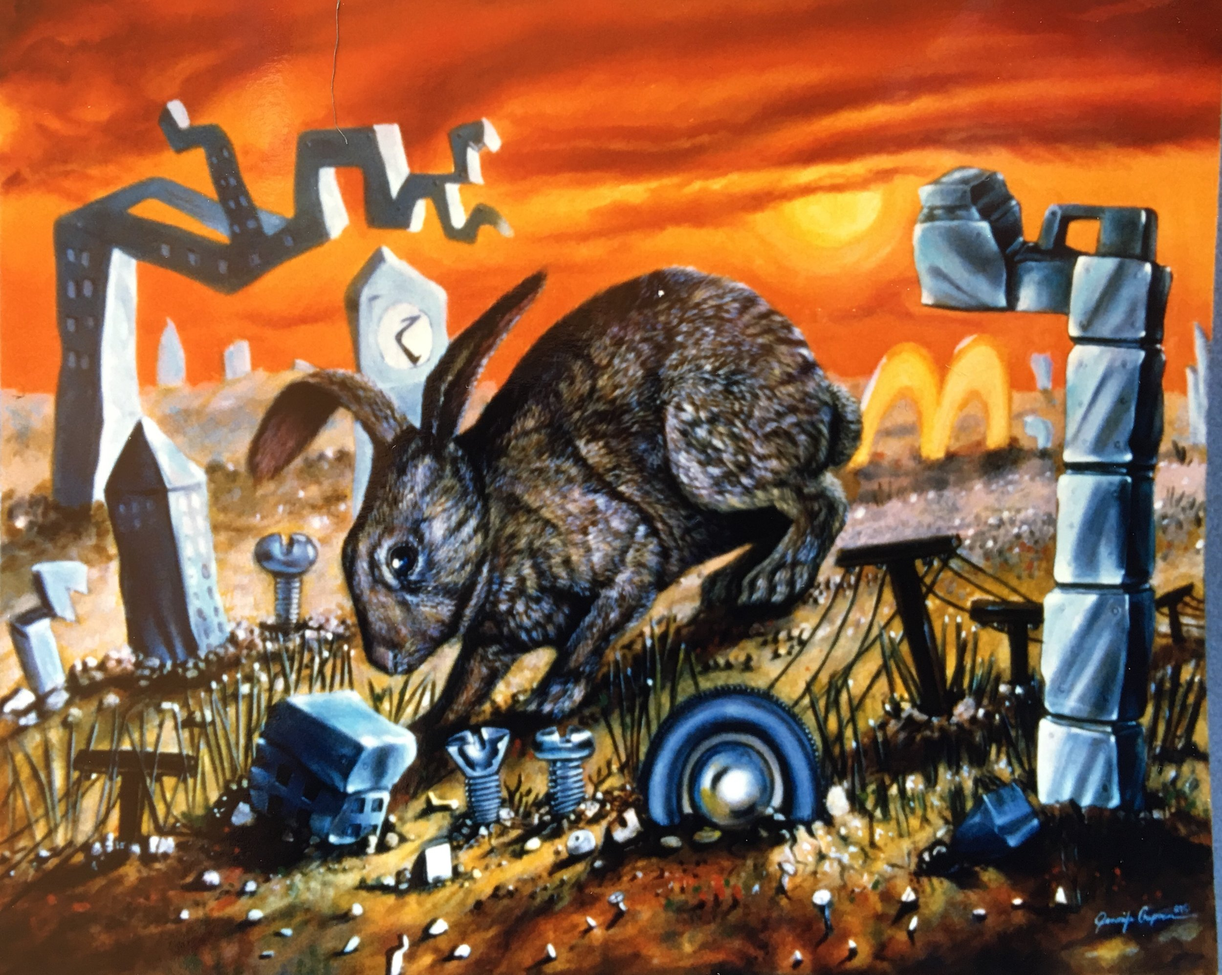 Modern Day Hare Painting by Jennifer Chapman