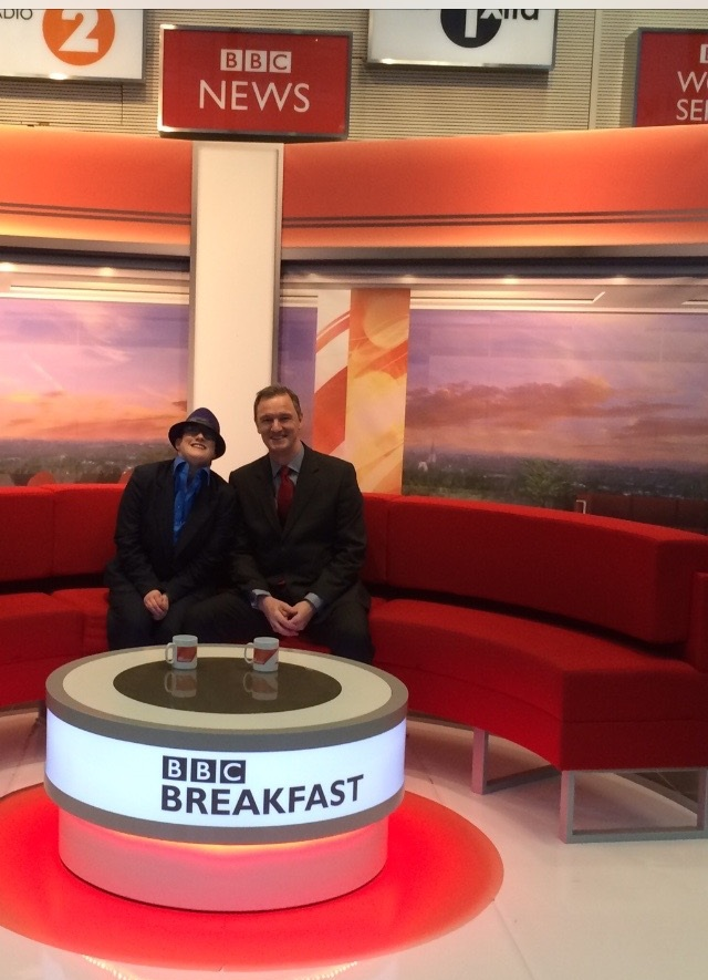 Photo of me and Mark Lever Chief executive of the NAS on the BBC Breakfast sofa before appearing on world autism awareness day .