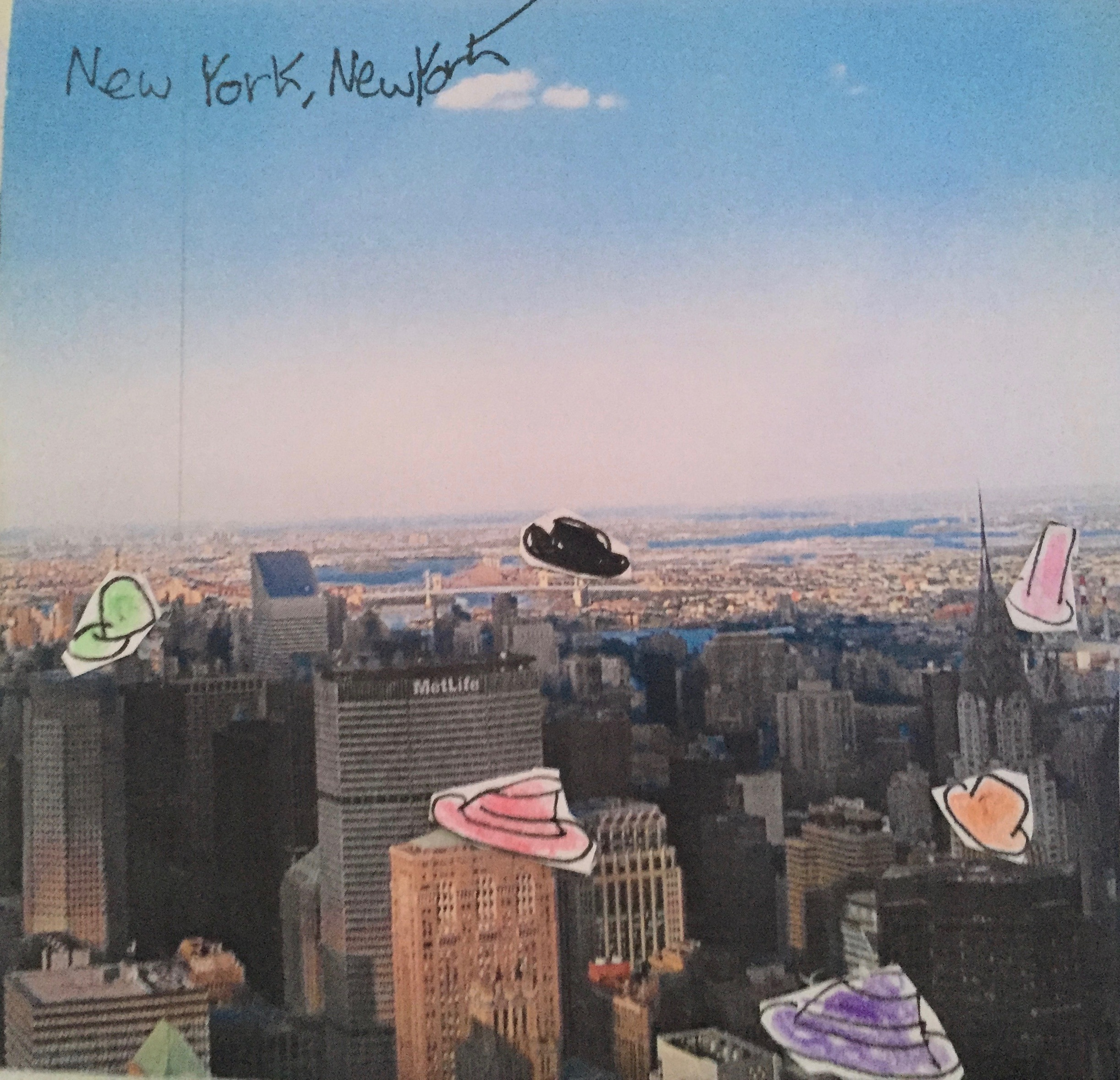 Photo of New York EP cover New york skyline with colourful hand drawn hats
