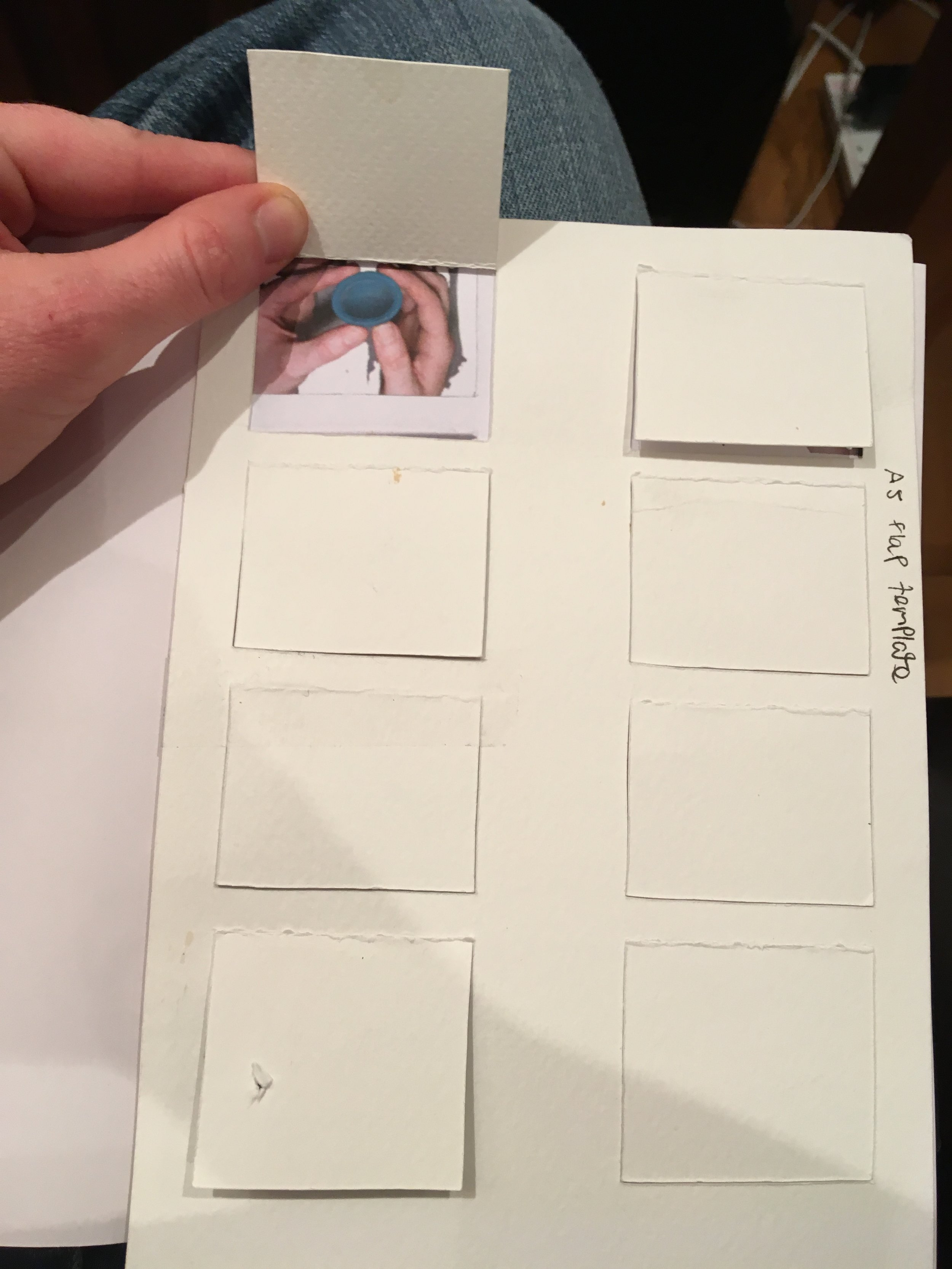 Photo of a prototype of the flap frame for my periods book.