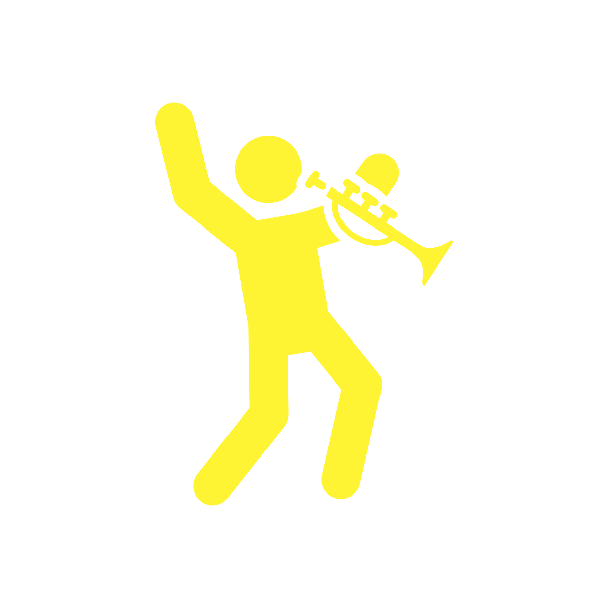 a person playing a trumpet and dancing