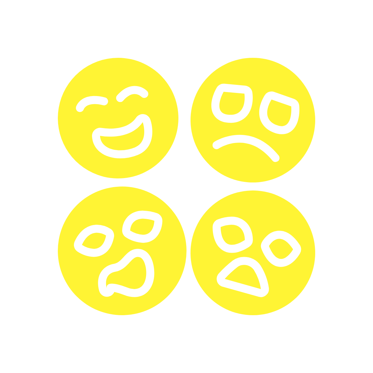 Faces showing a range of emotions.