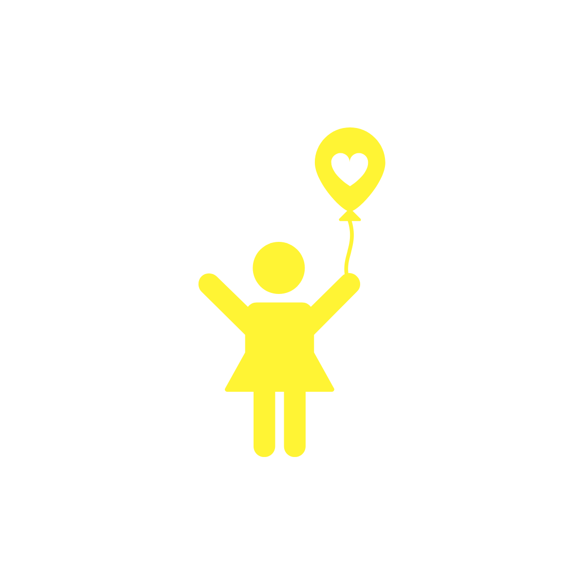 girl with balloon with a heart in the middle