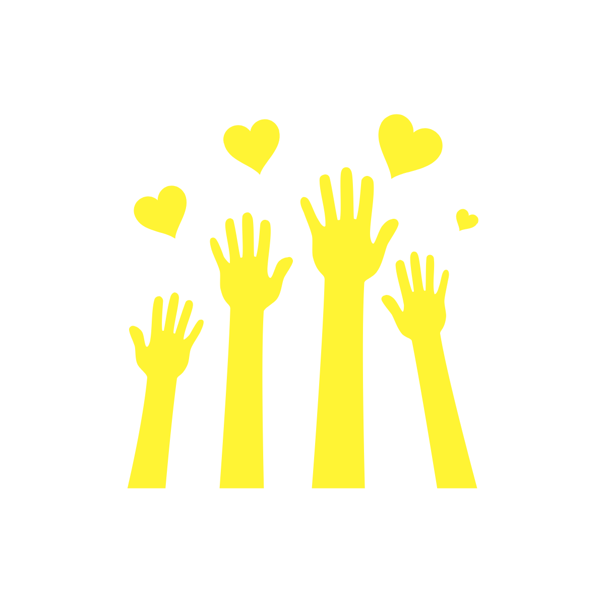 hands reaching toward the sky with hearts.