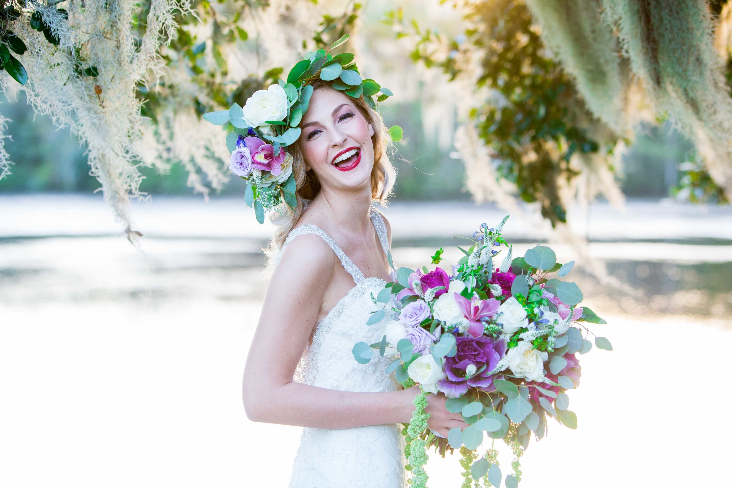 Wedding Photography at Wachesaw Plantation with live oaks and Spanish moss
