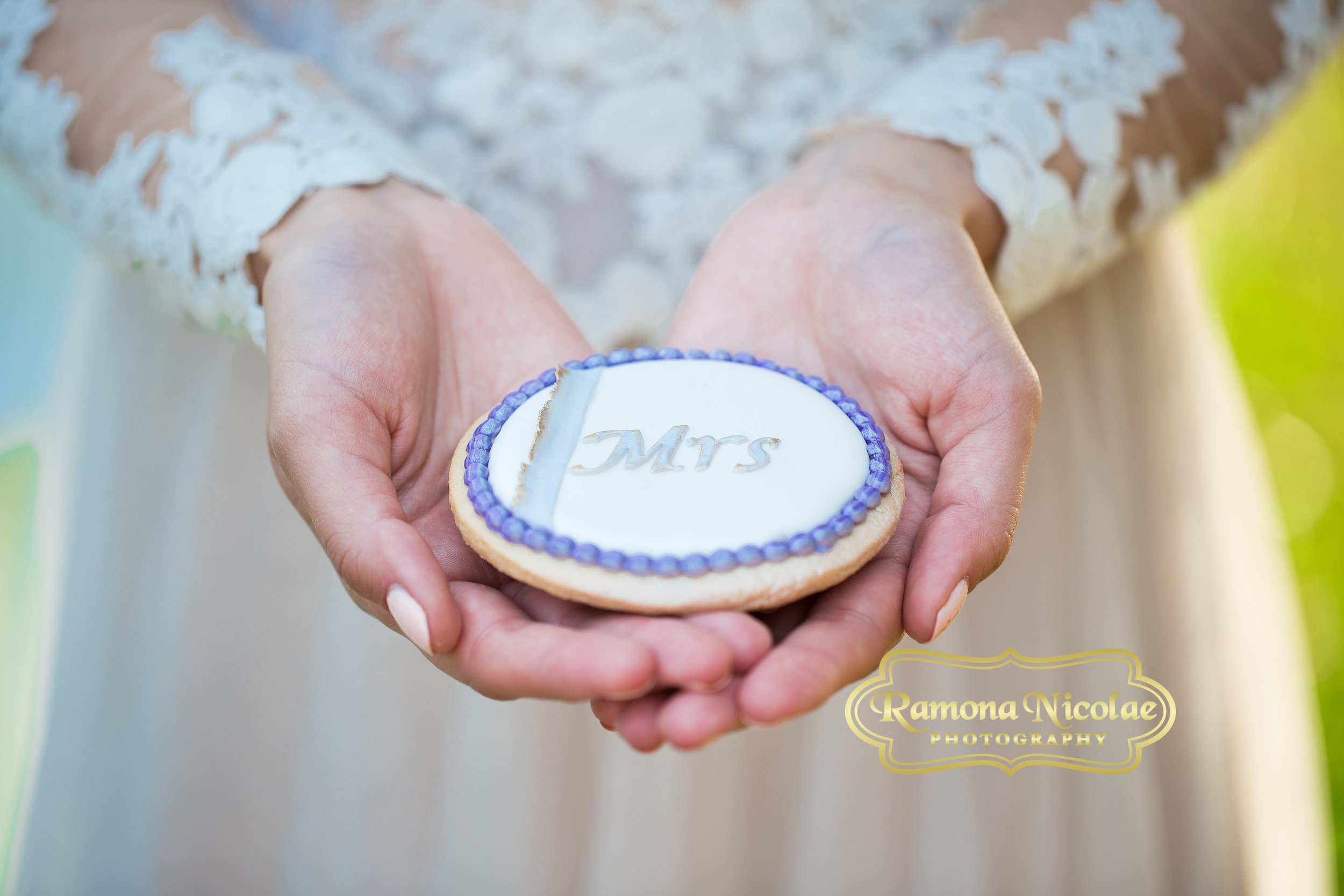 bride holds cookie in her hands at southern plantation in myrtle beach.jpg