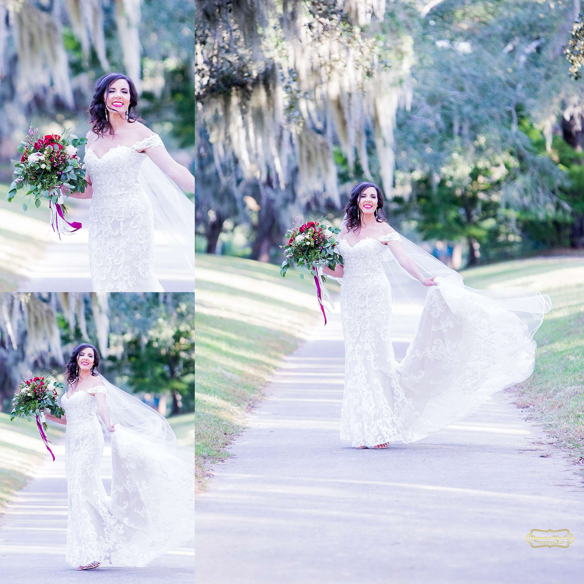 bride laughing and spinning twirling in her wedding dress with red flowers at brookgreen gardens by ramona nicolae photography myrtle beach wedding photographer-2.jpg