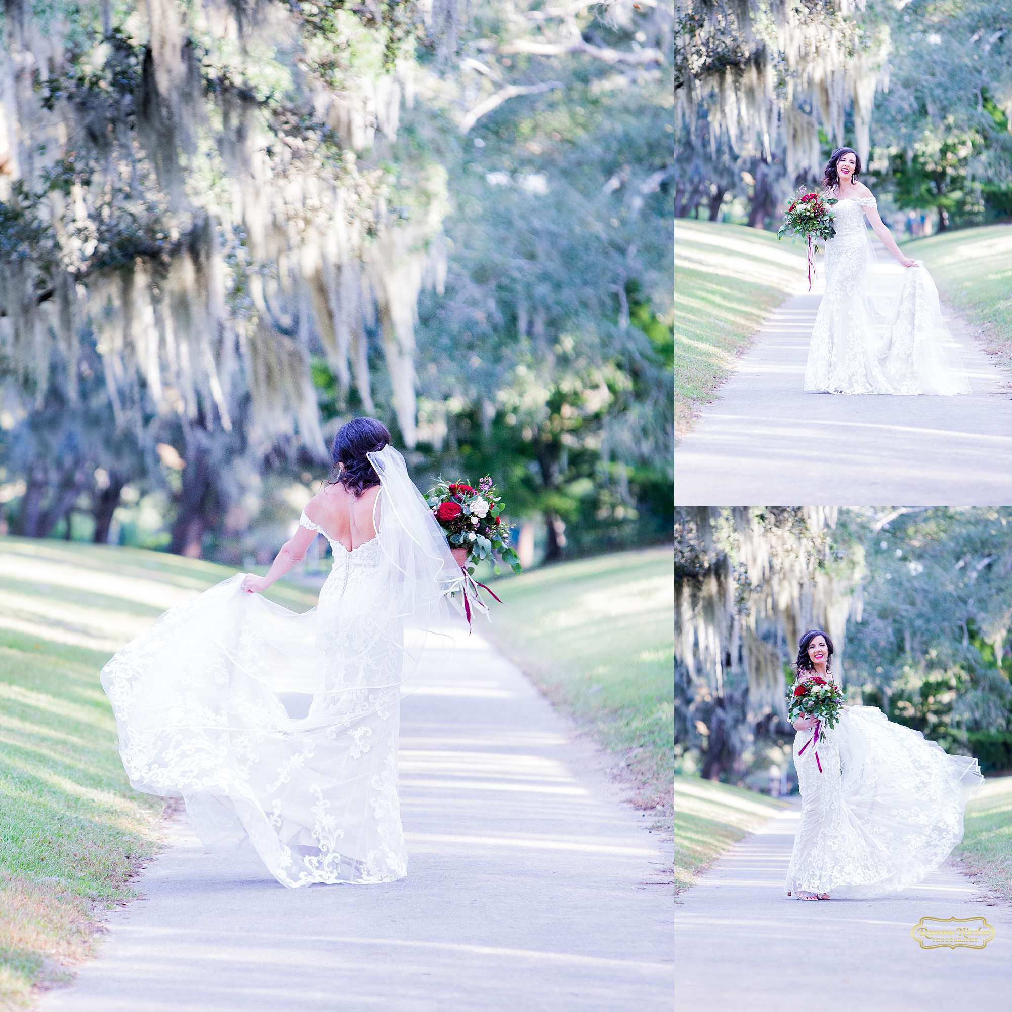 bride laughing and spinning twirling in her wedding dress with red flowers at brookgreen gardens by ramona nicolae photography myrtle beach wedding photographer-5.jpg