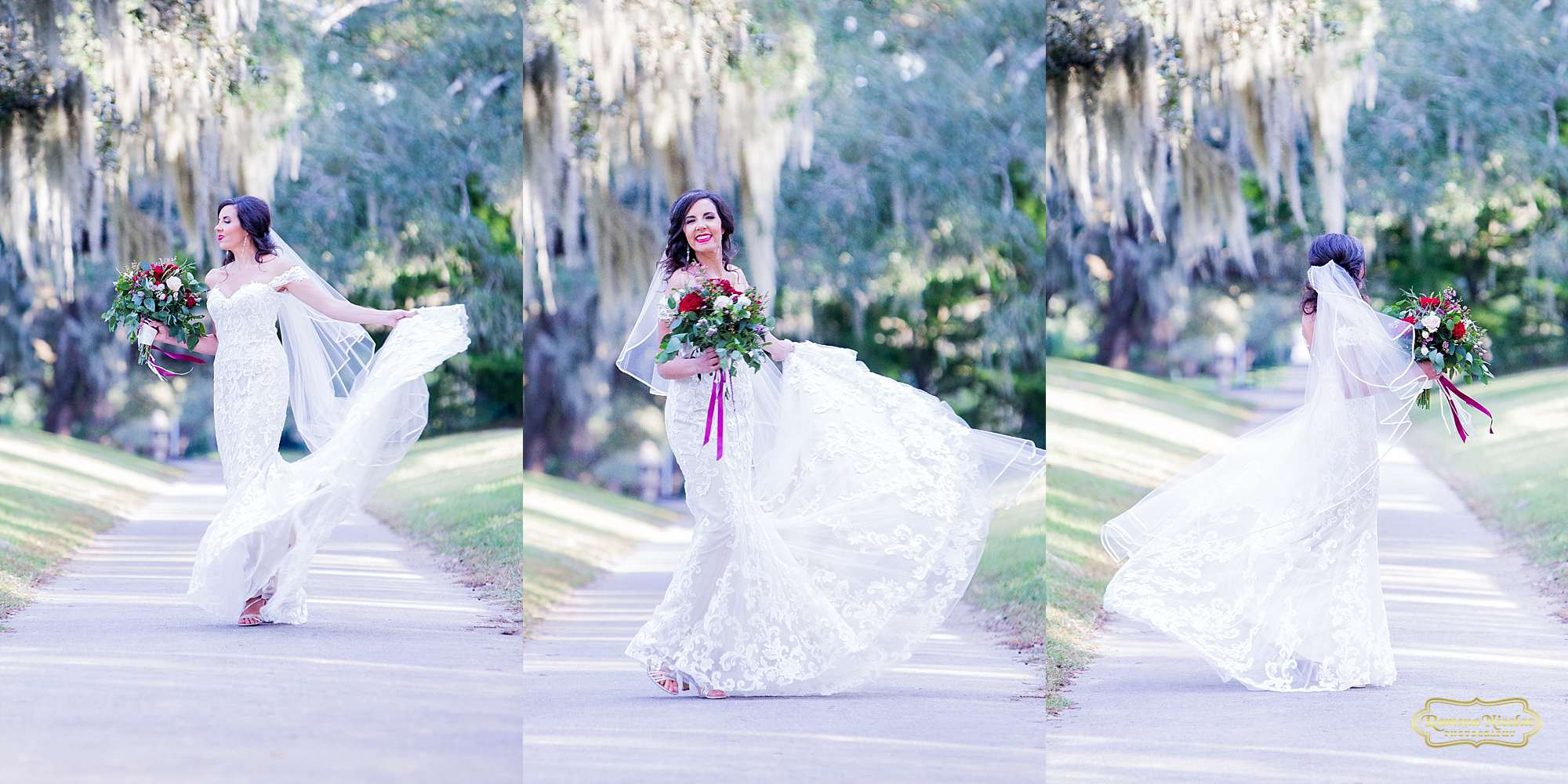 bride laughing and spinning twirling in her wedding dress with red flowers at brookgreen gardens by ramona nicolae photography myrtle beach wedding photographer-7.jpg