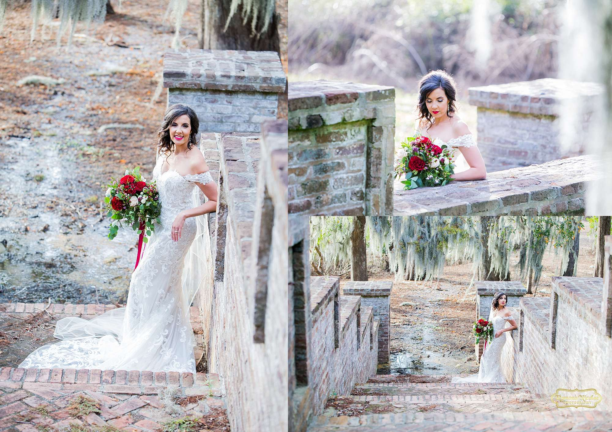 bride on the steps at brookgreen gardens with spanish moss for bridal session with ramona nicolae myrtle beach wedding photographer-2.jpg