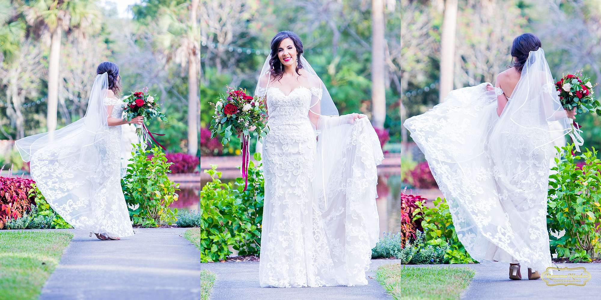 bride smiling and twirling spinning with red flowers and veil at brookgreen gardens during bridal session with ramona nicolae photography myrtle beach wedding photographer-3.jpg
