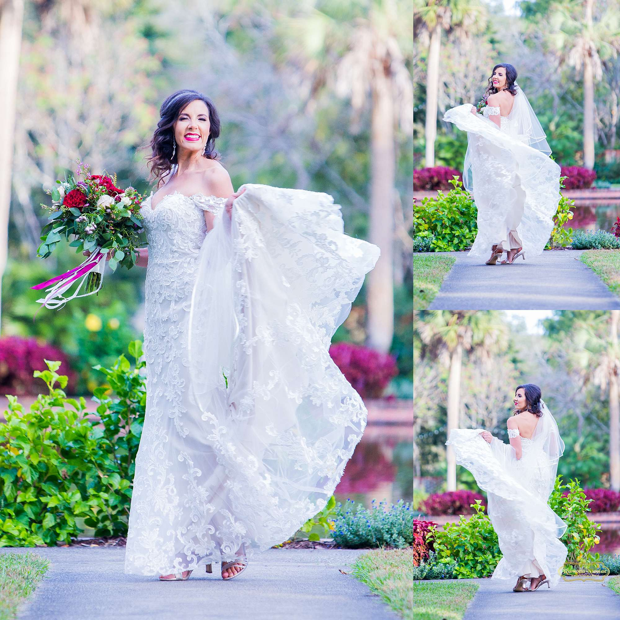 bride smiling and twirling spinning with red flowers and veil at brookgreen gardens during bridal session with ramona nicolae photography myrtle beach wedding photographer-5.jpg