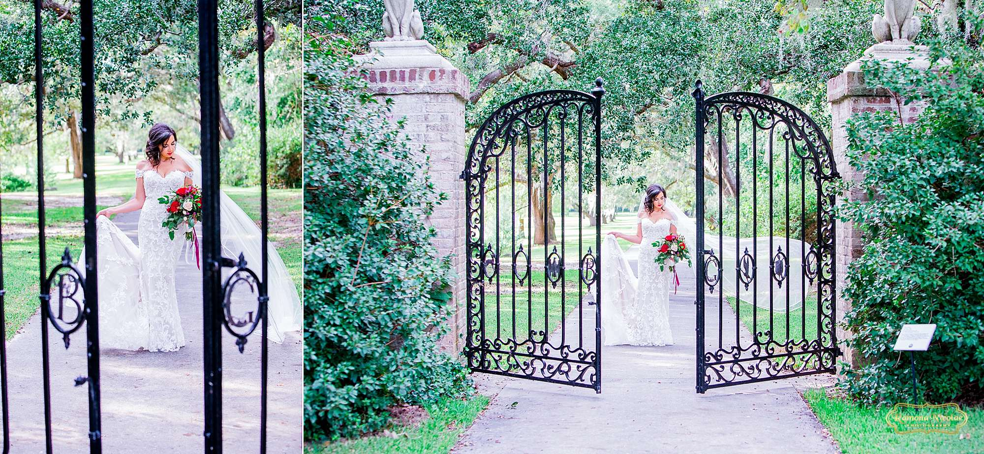 bride with red flowers by the black B & G gates at Brookgreen Gardens looking gorgeous during bridal session with ramona nicolae photography-1.jpg