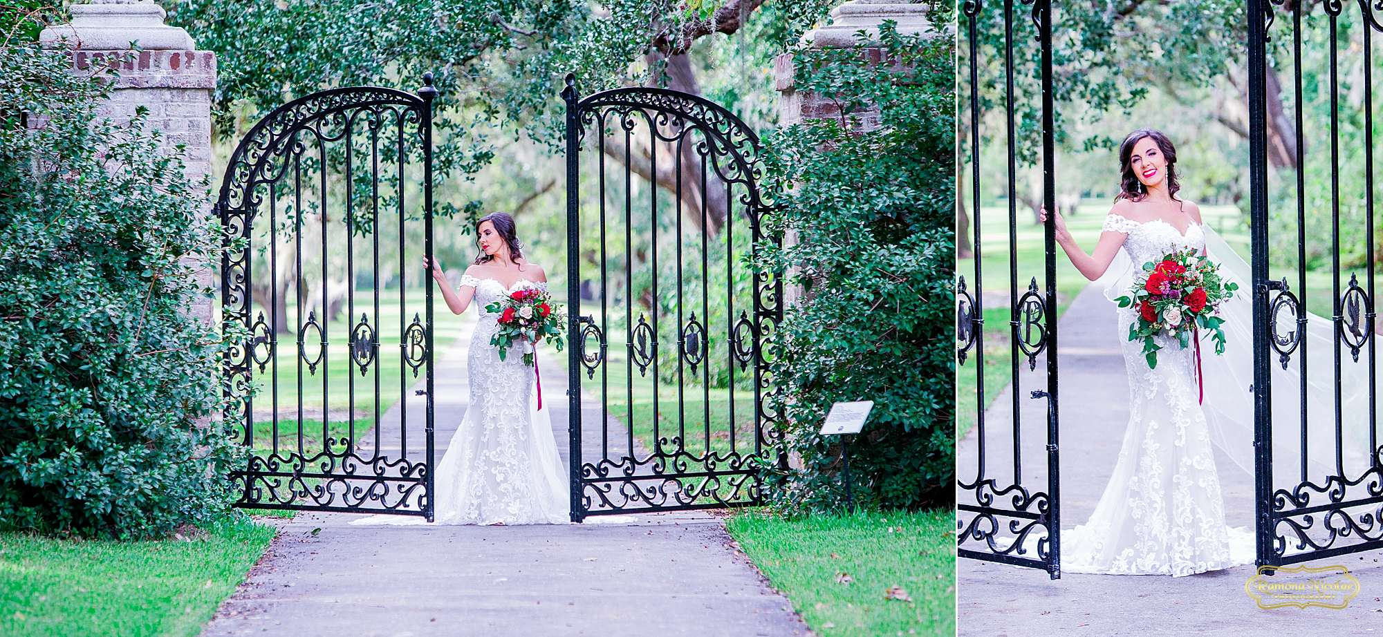 bride with red flowers by the black B & G gates at Brookgreen Gardens looking gorgeous during bridal session with ramona nicolae photography-4.jpg