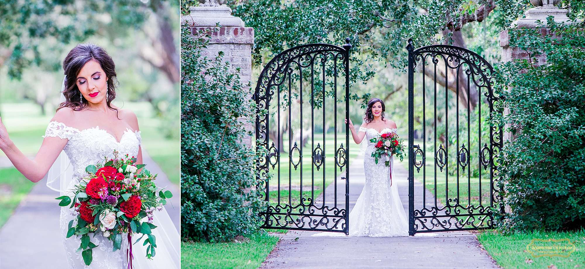 bride with red flowers by the black B & G gates at Brookgreen Gardens looking gorgeous during bridal session with ramona nicolae photography-8.jpg