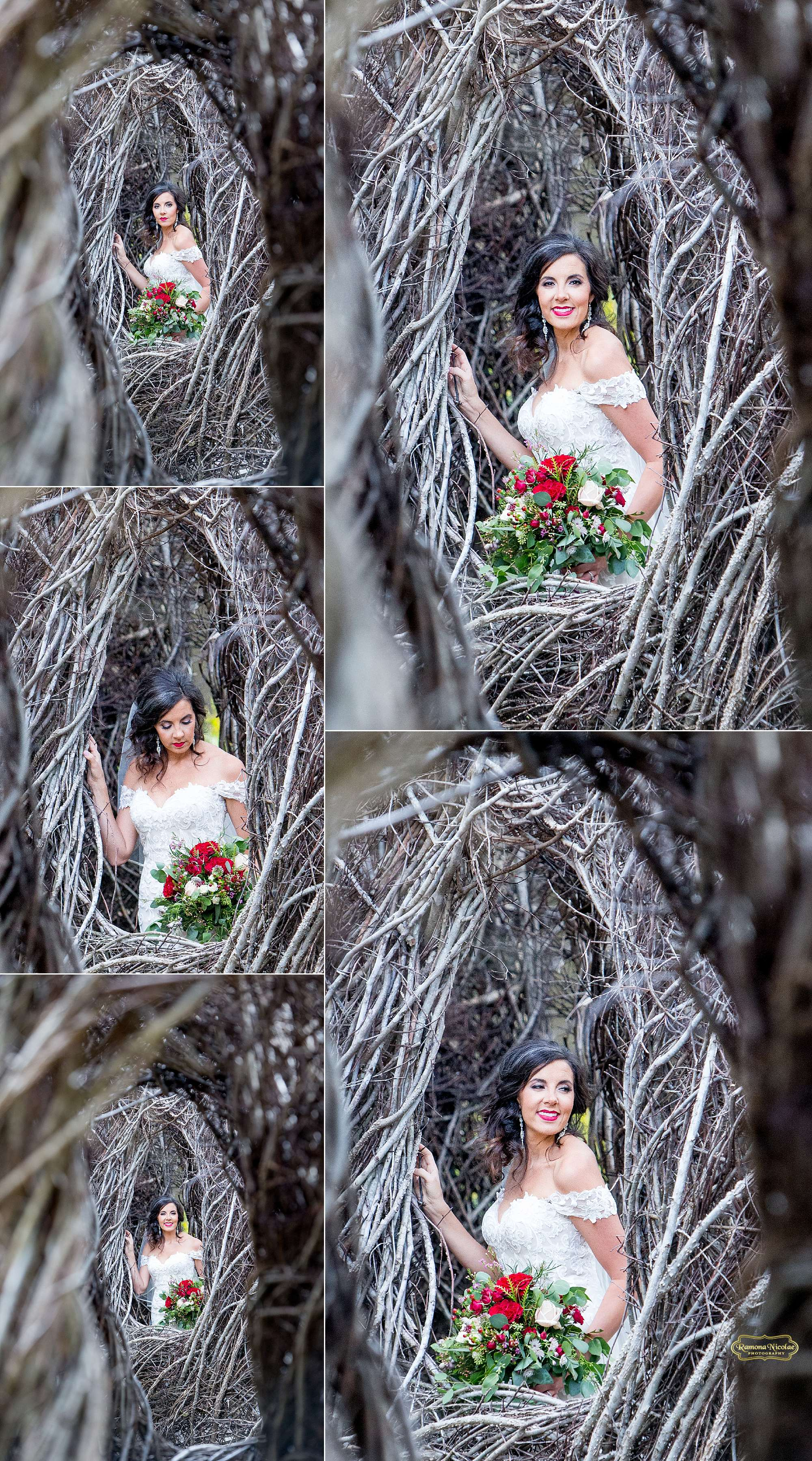 bride with red flowers in tunnel of brown roots at brookgreen gardens-3.jpg