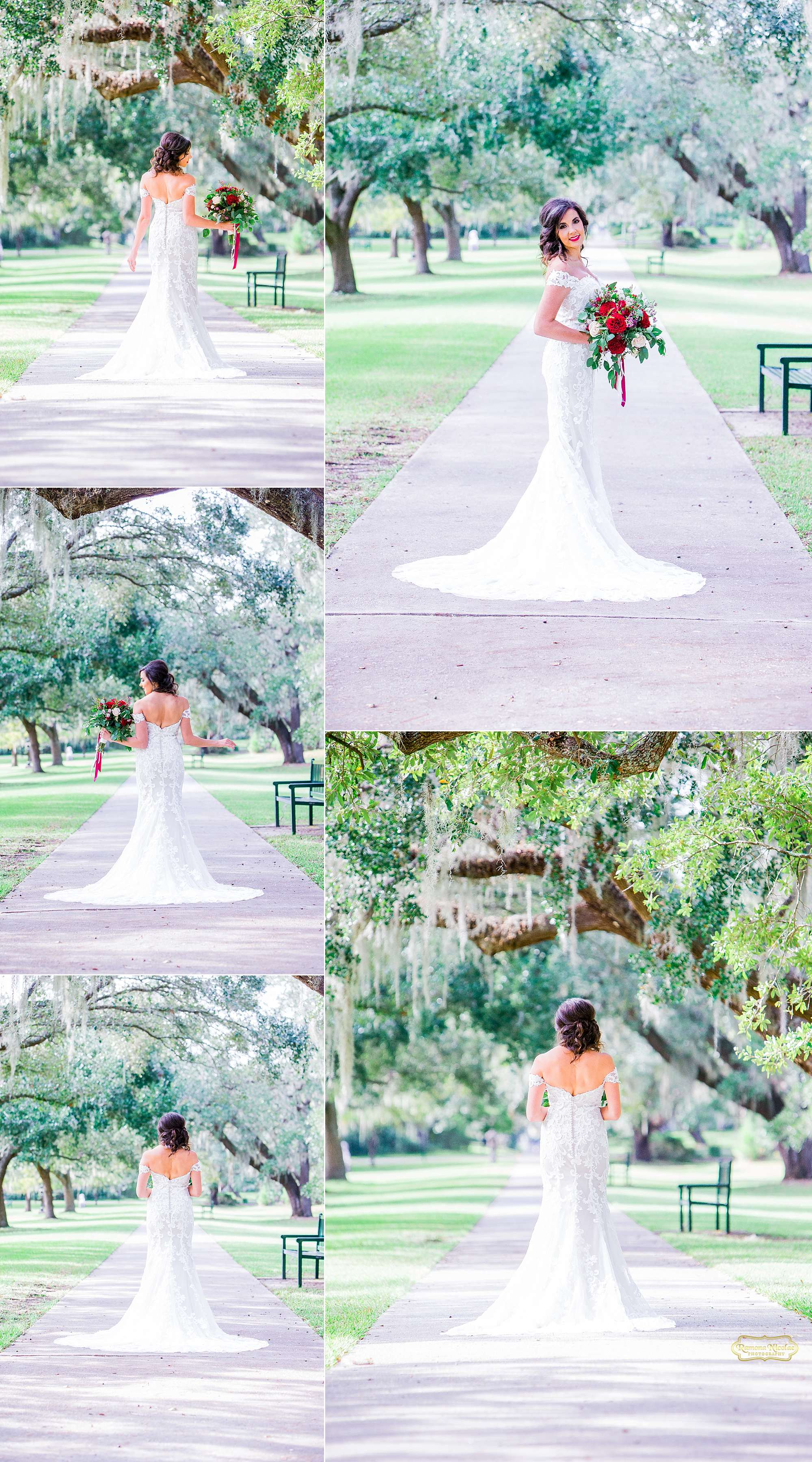 happy bride with red wedding bouquet at brookgreen gardens for bridal session with ramona nicolae photography-2.jpg