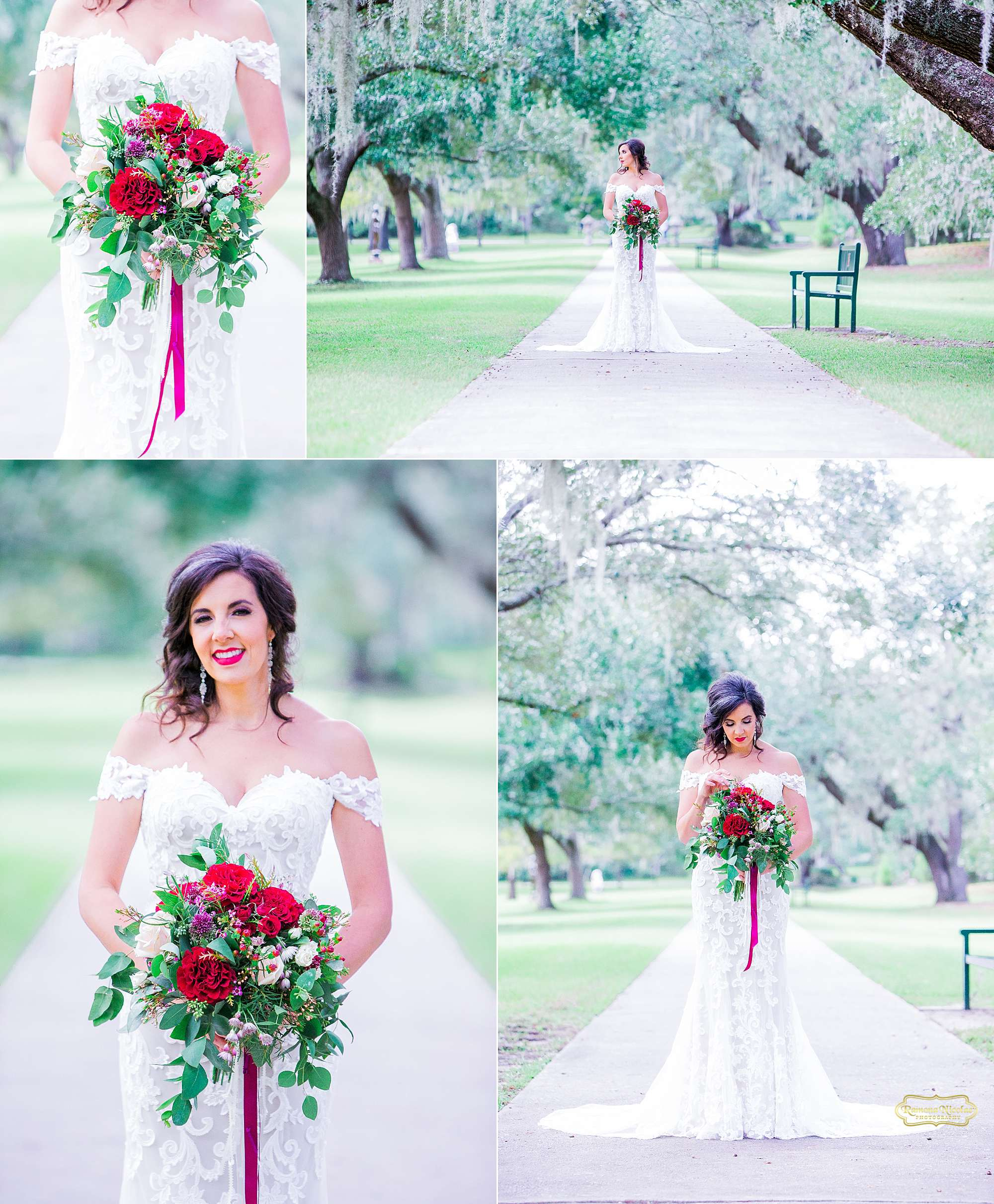 happy bride with red wedding bouquet at brookgreen gardens for bridal session with ramona nicolae photography-13.jpg