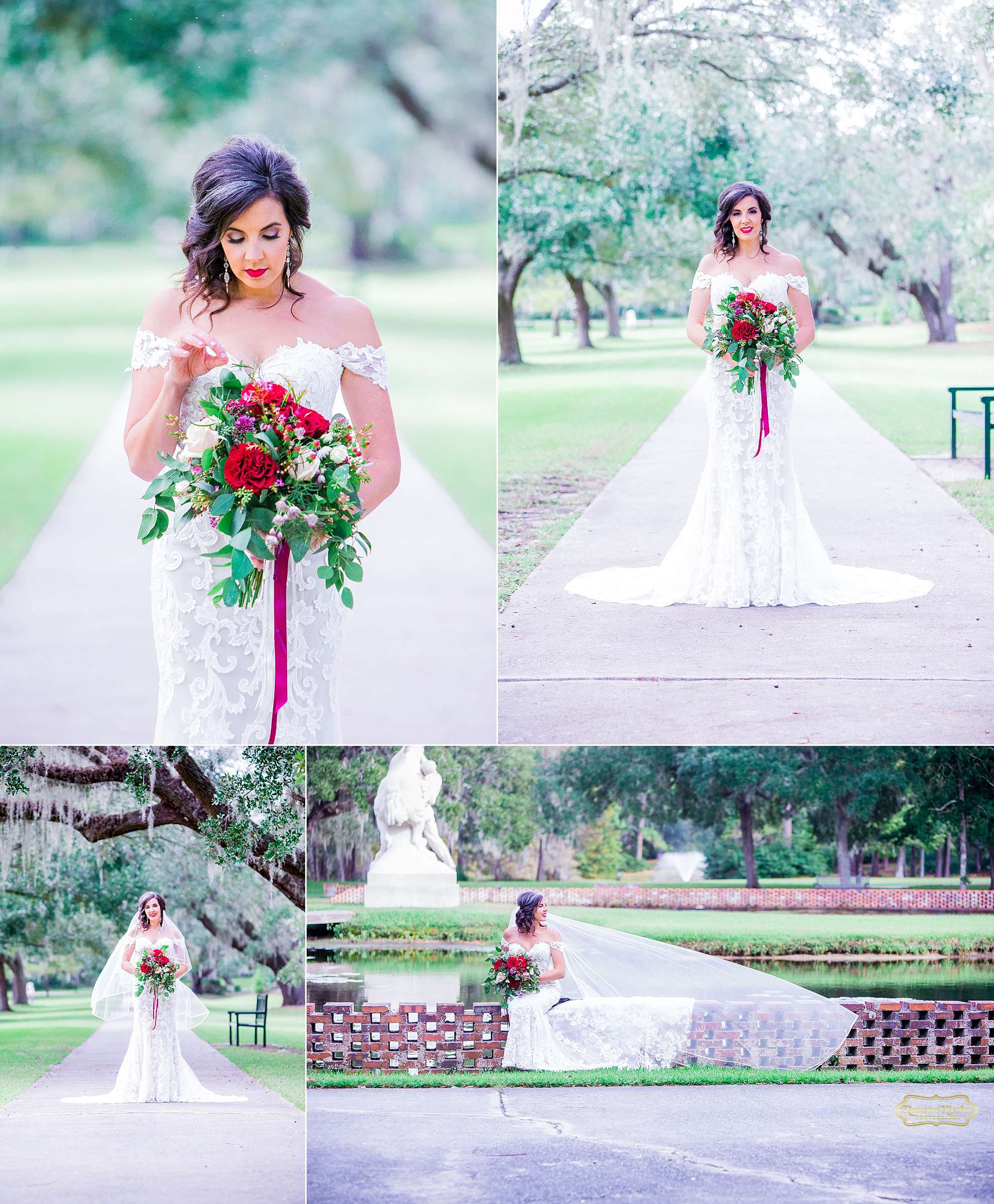 happy bride with red wedding bouquet at brookgreen gardens for bridal session with ramona nicolae photography-17.jpg